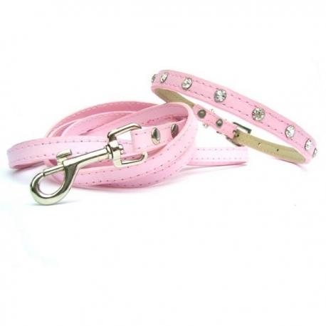 Collier et laisse pour petit chien Baby Pink