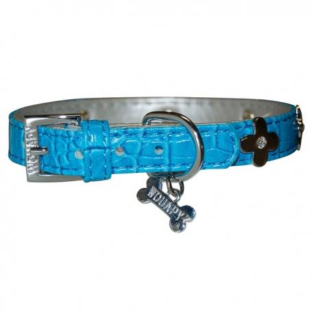 Collier chien bleu en cuir