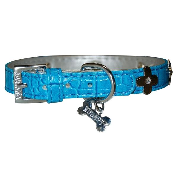 collier chien cuir bleu