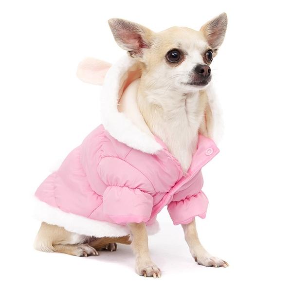 doudoune pour chien rose avec oreilles de lapin manteaux chiens. Black Bedroom Furniture Sets. Home Design Ideas