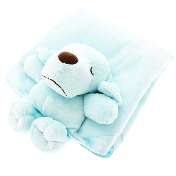 couverture pour chien bleu avec doudou plaid pour chien oh pacha. Black Bedroom Furniture Sets. Home Design Ideas