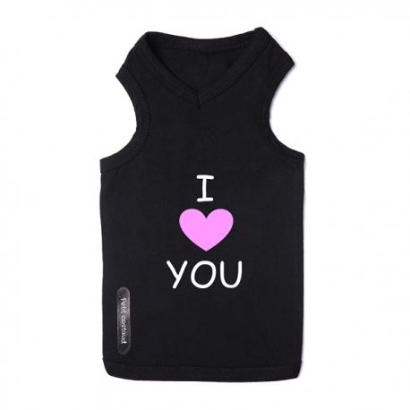 T-shirt pour chien noir love pink