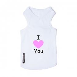 T-shirt pour chien blanc I love pink