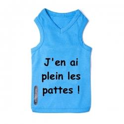 T-shirt pour chien bleu plein les pattes