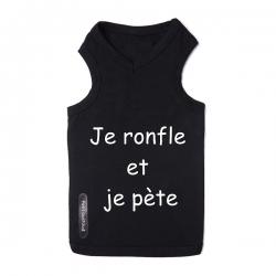 T-shirt pour chien noir je ronfle