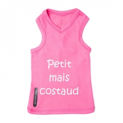 T-shirt chien Costaud rose