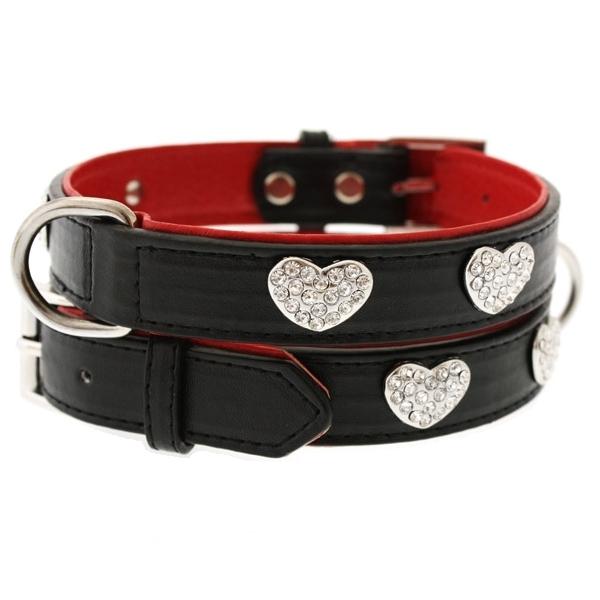 collier pour chien en cuir noir et rouge colliers chiens oh pacha. Black Bedroom Furniture Sets. Home Design Ideas