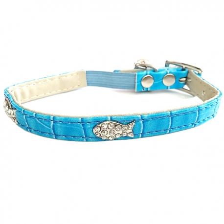 Collier luxe pour chat bleu