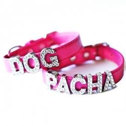 Collier pour chien à personnaliser fuchsia