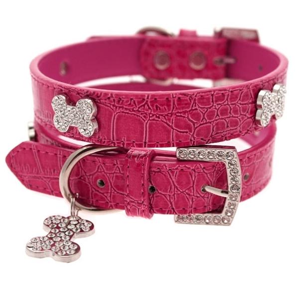 collier rose pour chien en cuir colliers pour chien oh pacha. Black Bedroom Furniture Sets. Home Design Ideas