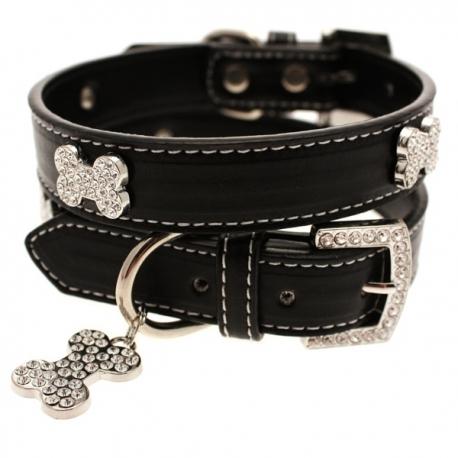 Collier noir pour chien en cuir