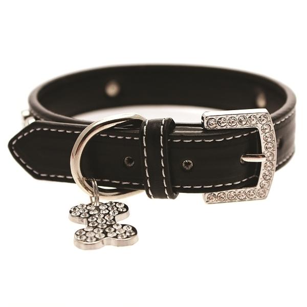 collier pour chien en cuir noir colliers chiens oh pacha. Black Bedroom Furniture Sets. Home Design Ideas
