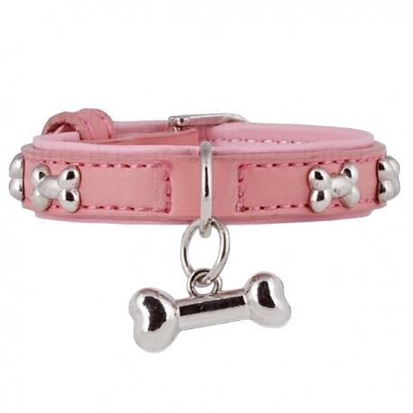 Collier pour chien baby rose en cuir