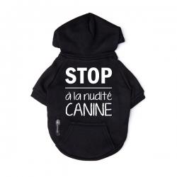 Sweat pour chien noir Stop à la nudité canine