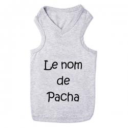 T-shirt pour chien personnalisable gris