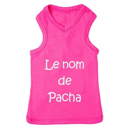 T-shirt pour chien personnalisable rose