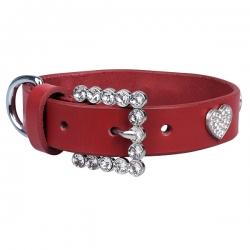 Collier pour chien rouge avec strass