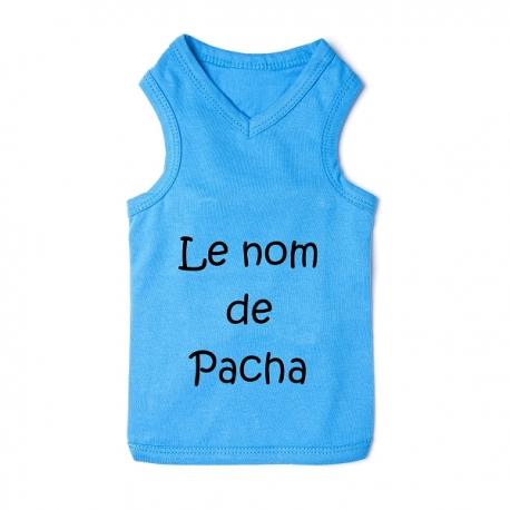 T-shirt pour chien personnalisable bleu