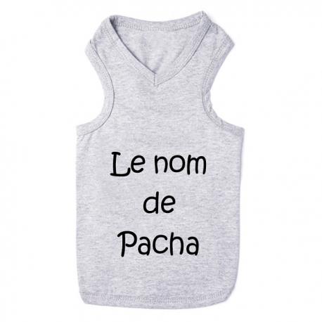 T-shirt pour chat personnalisable gris