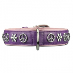 Collier pour chien Peace and Love violet