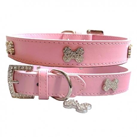 Collier pour chien bling bling rose bonbon