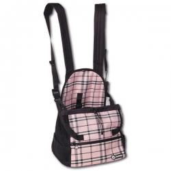Sac de transport pour chien ventral tartan rose