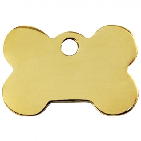 Médaille pour chien à graver os or