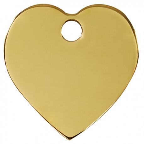 Médaille pour chien à graver coeur or